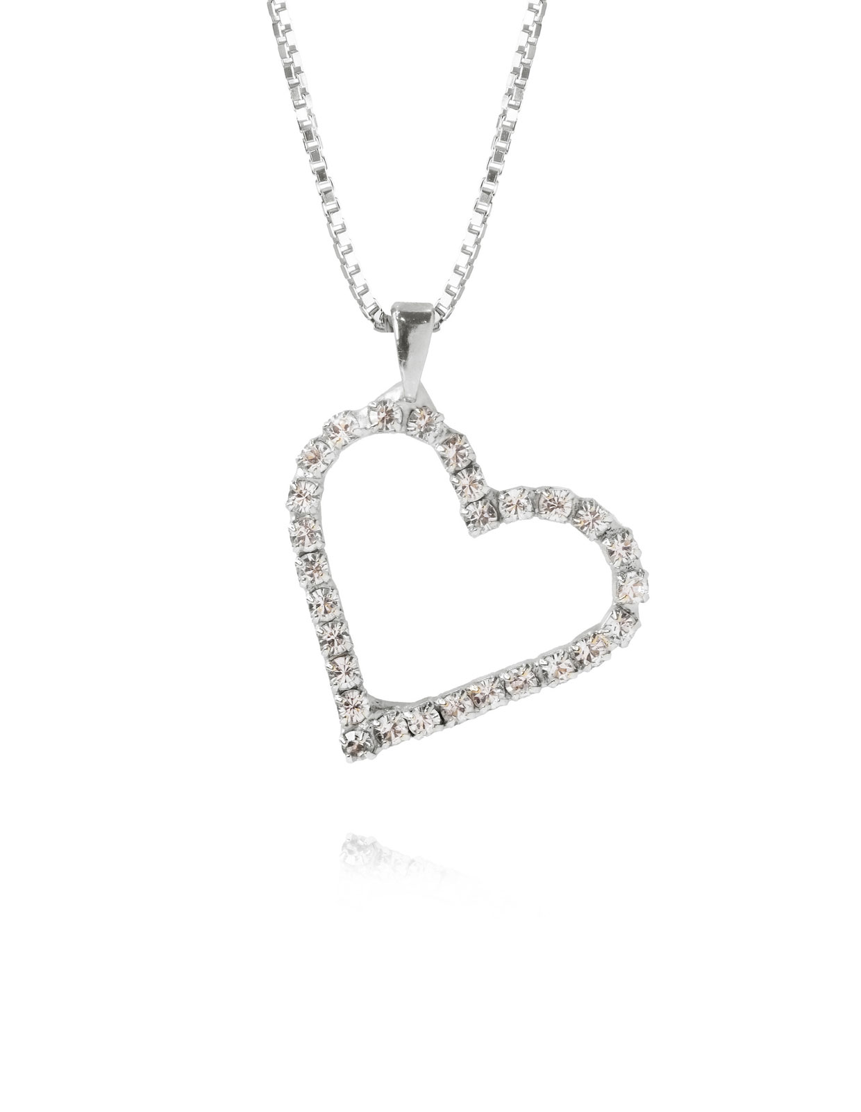 Sweetheart Necklace Rhodium/Crystal