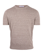 Luxury T-shirt Linen Cotton Crew Neck Sand