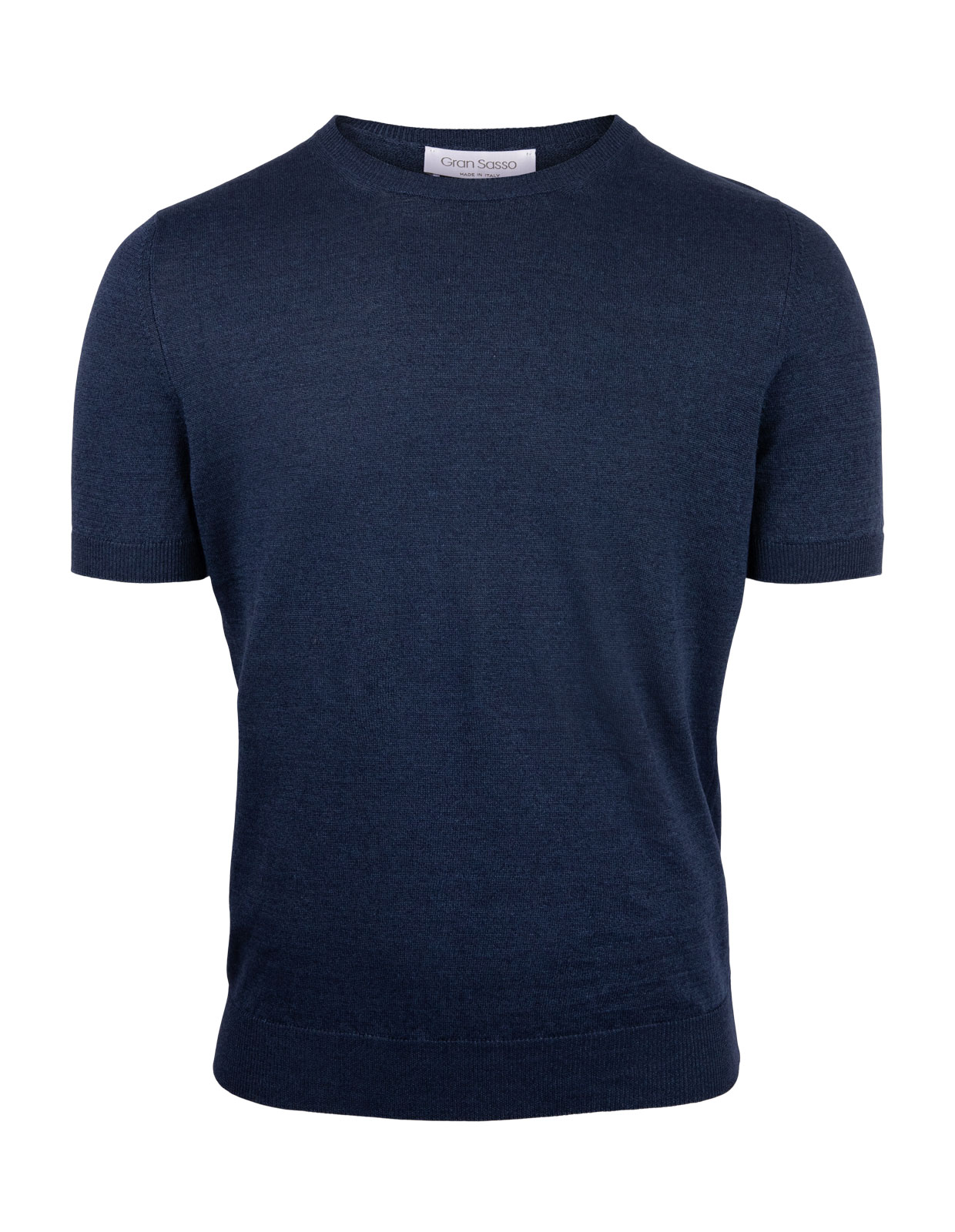 Luxury T-shirt Linen Cotton Crew Neck Navy