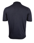 Luxury Silk Knitted Polo Navy
