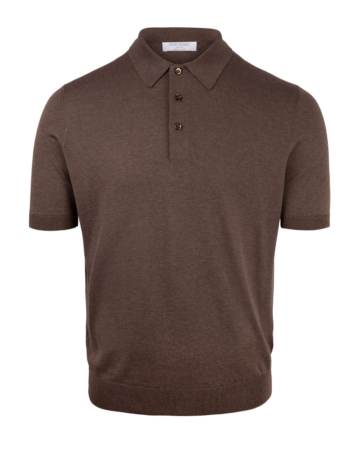 Luxury Silk Knitted Polo Brown Stl 56