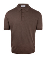 Luxury Silk Knitted Polo Brown