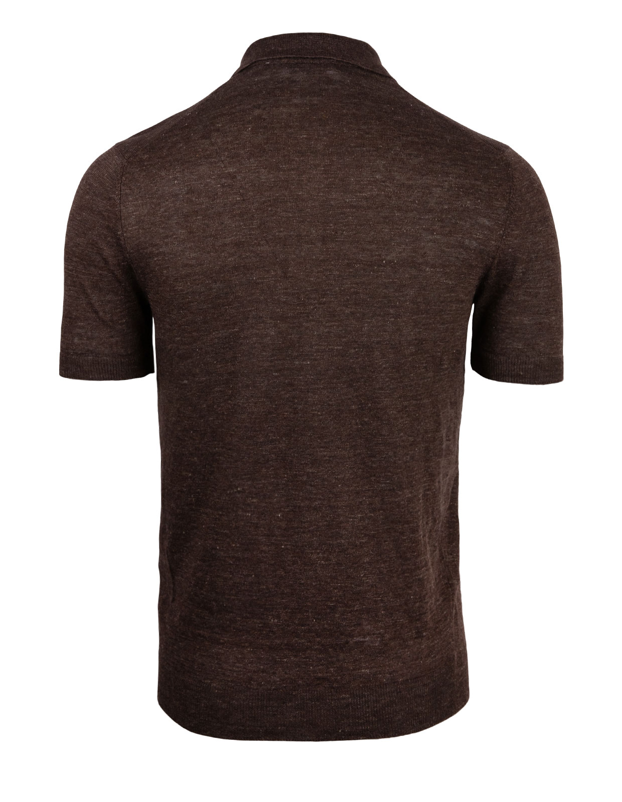 Luxury Linen Knitted Polo Brown