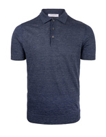Luxury Linen Knitted Polo Navy