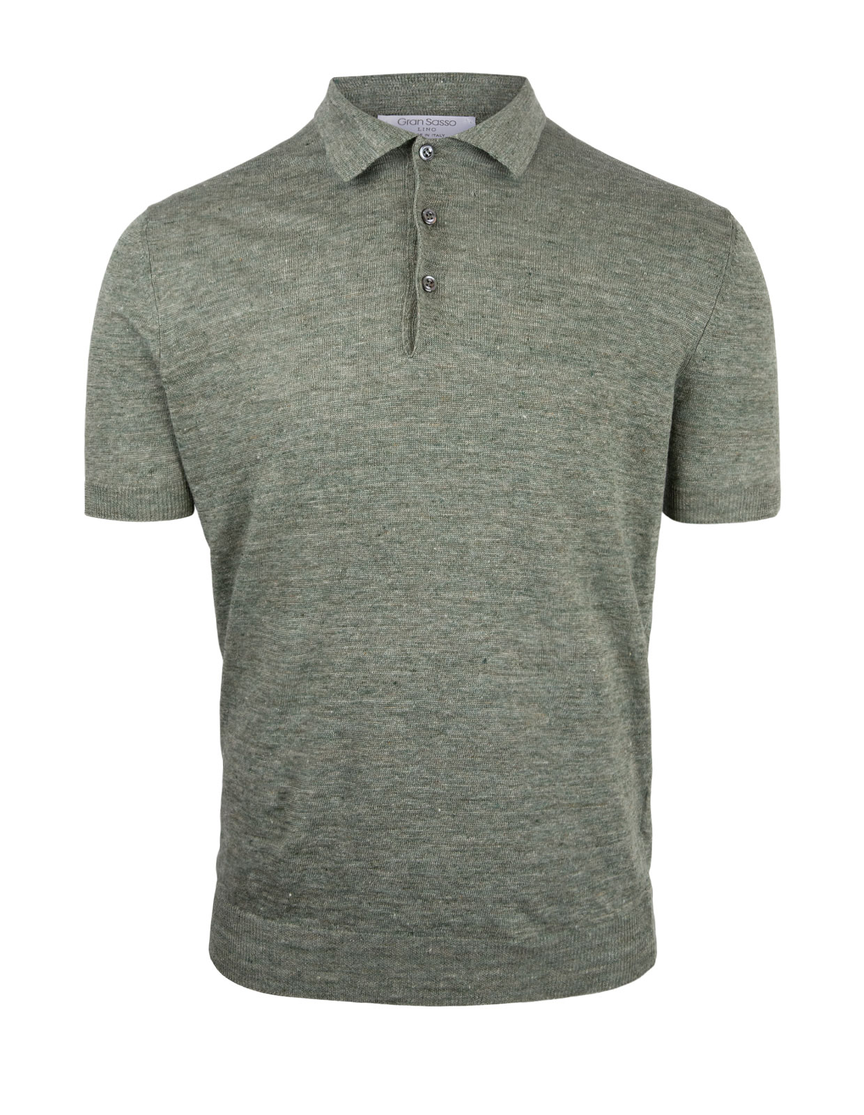 Luxury Linen Knitted Polo Green