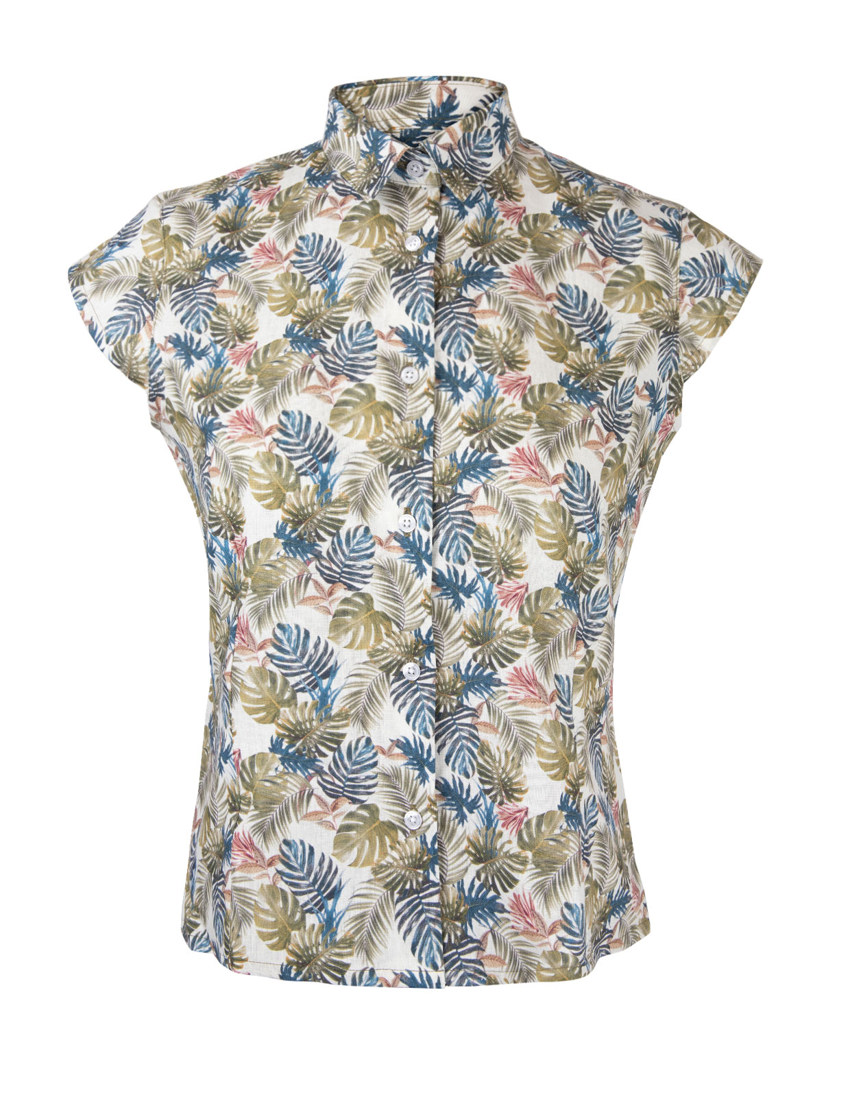 Shirt Cap Sleeve Leaf Print