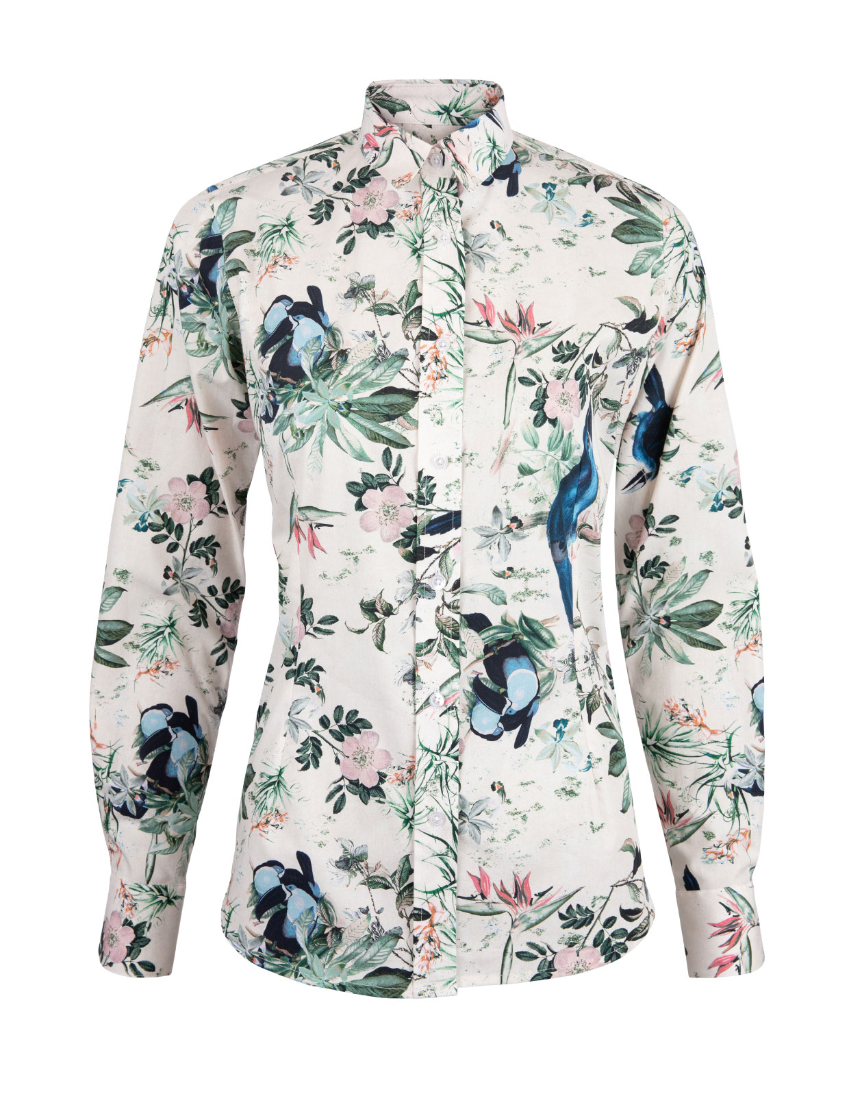 Cotton Shirt Long Sleeve Bird Print