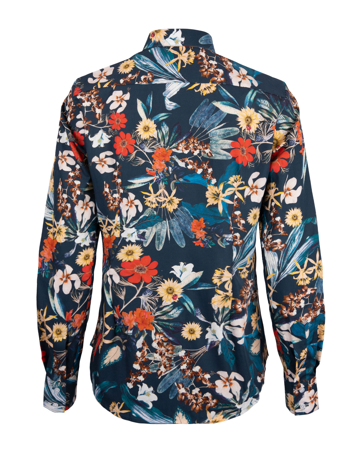 Cotton Shirt Long Sleeve Navy Flower