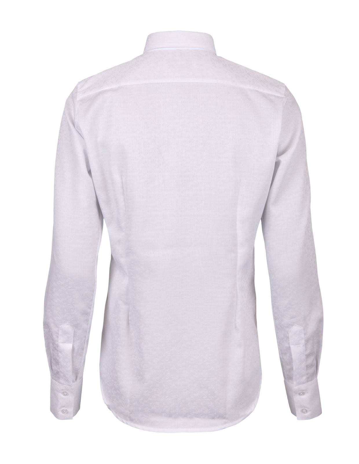 Cotton Shirt Long Sleeve White Paisley