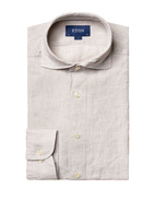 Contemporary Fit Soft Linen Shirt Grey Stl 39
