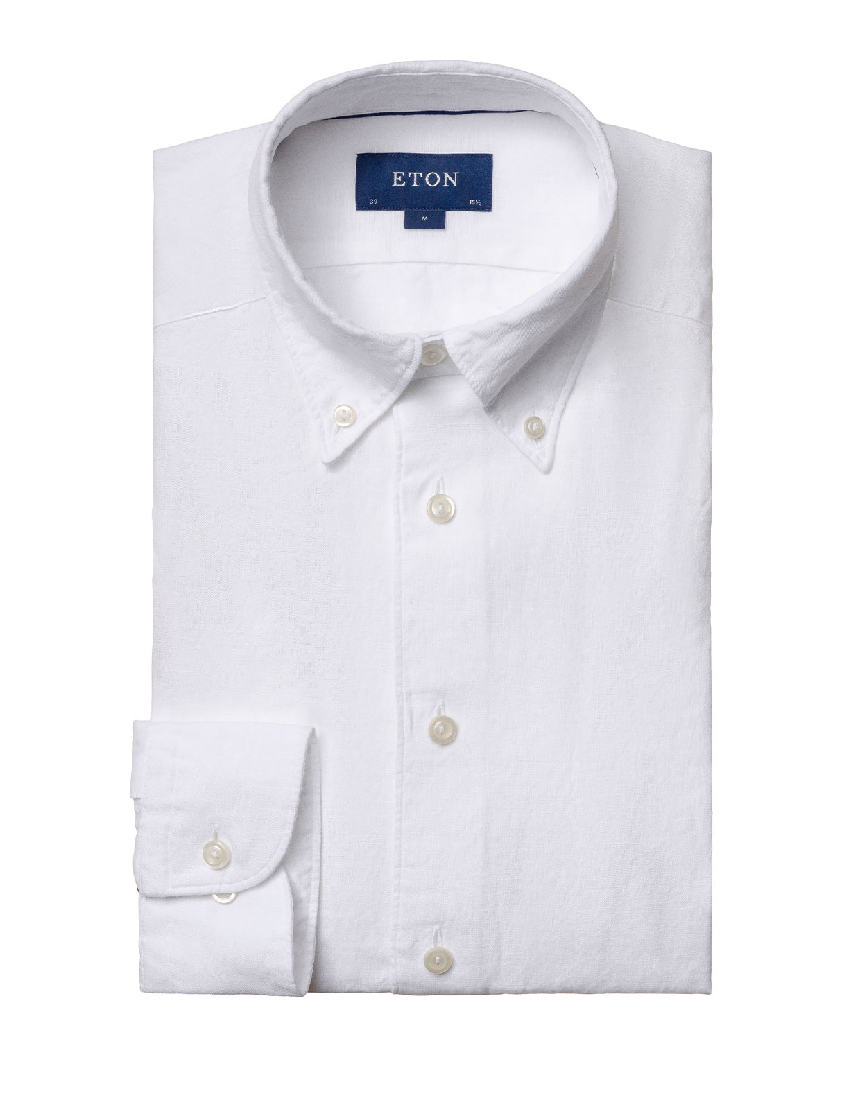 Slim Fit Soft Button Down Linneskjorta White