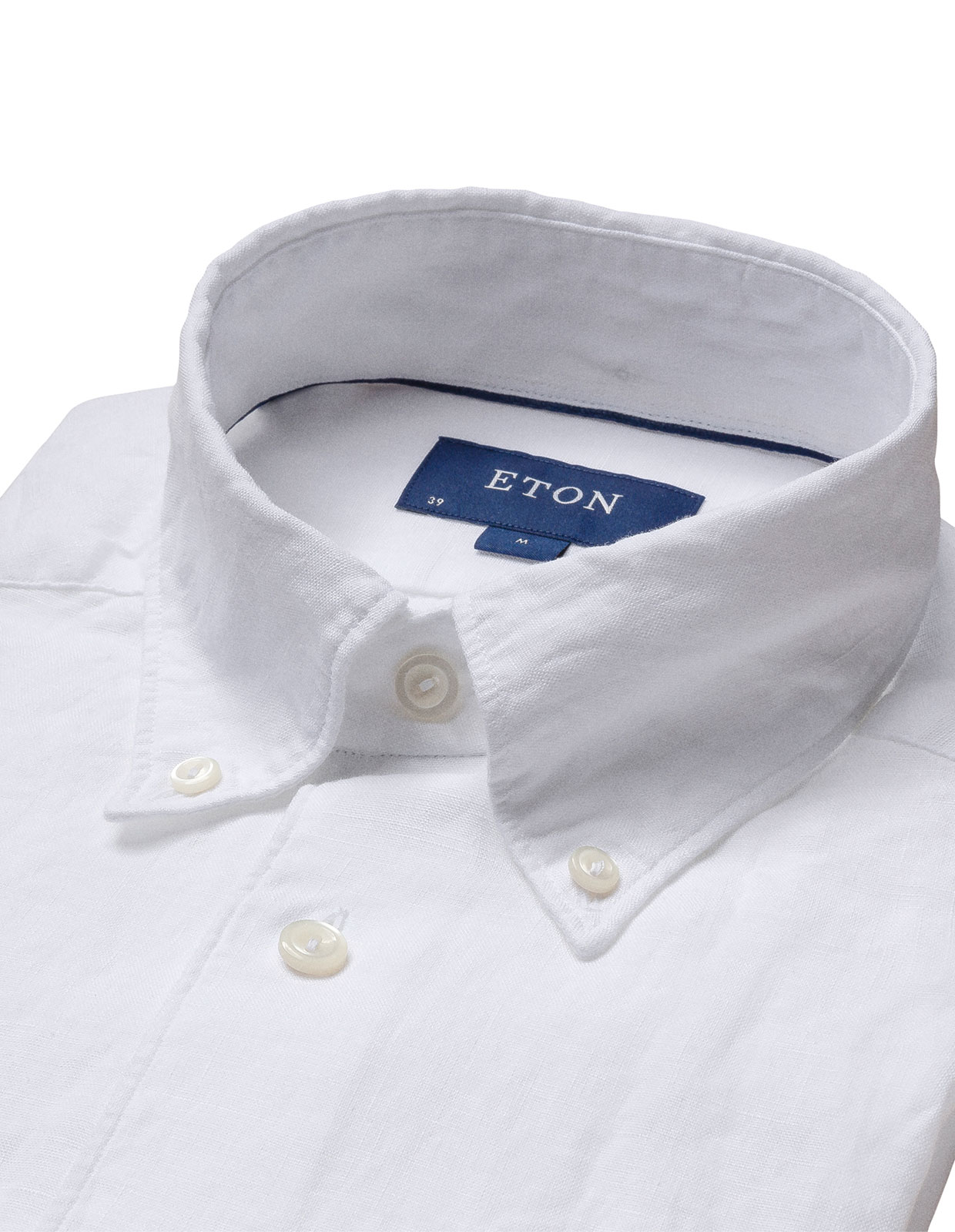 Slim Fit Soft Button Down Linneskjorta White Stl 40