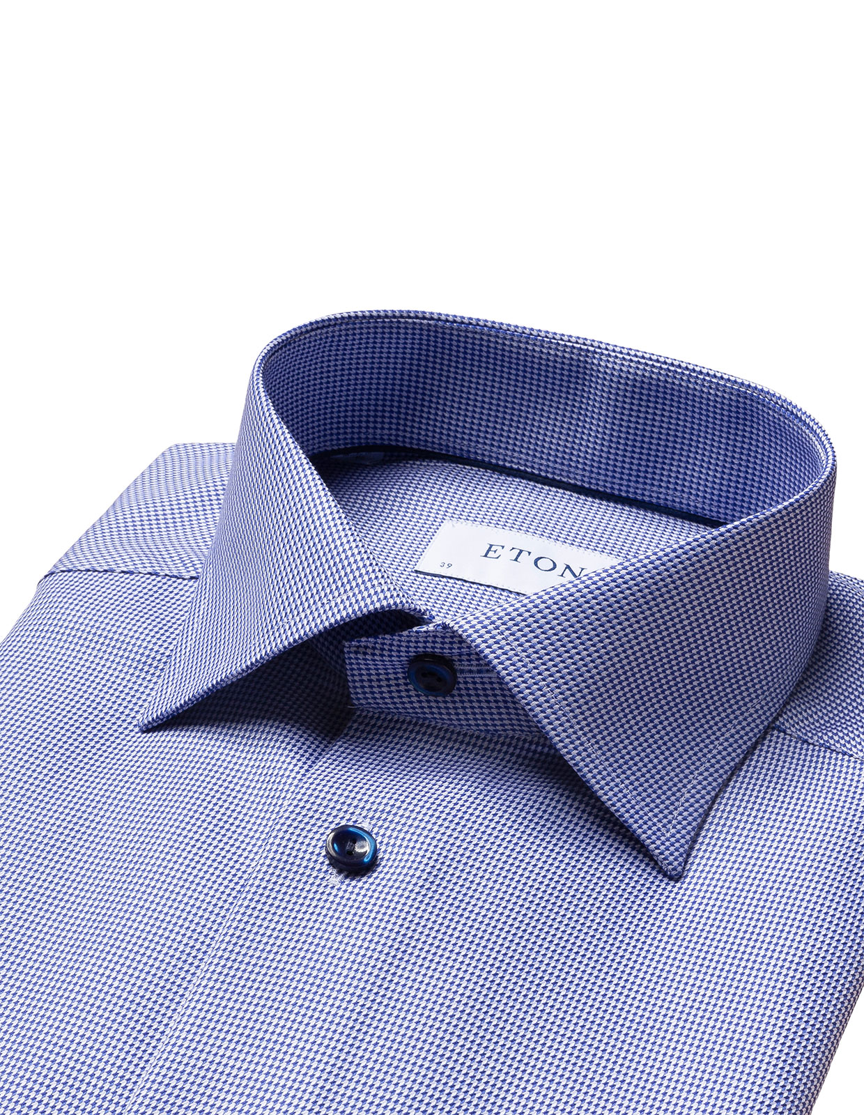 Slim Fit Twill Shirt Contrast Buttons Blue Stl 39