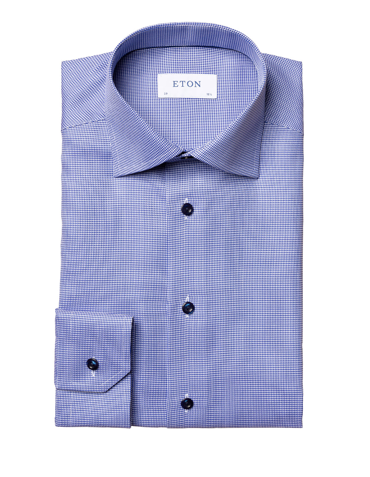 Contemporary Fit Twill Shirt Contrast Buttons Blue