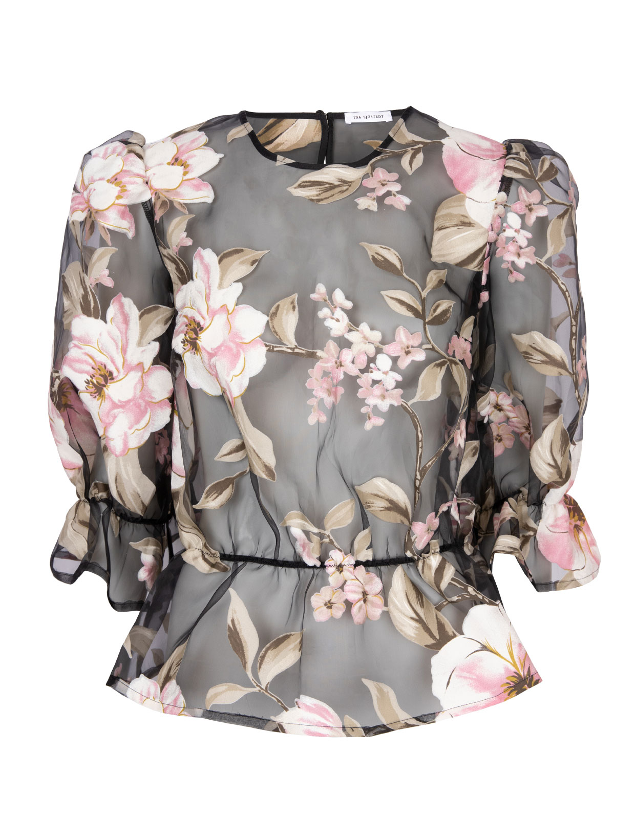 Orlando Top Puffy Sleeved Organza Floral Black