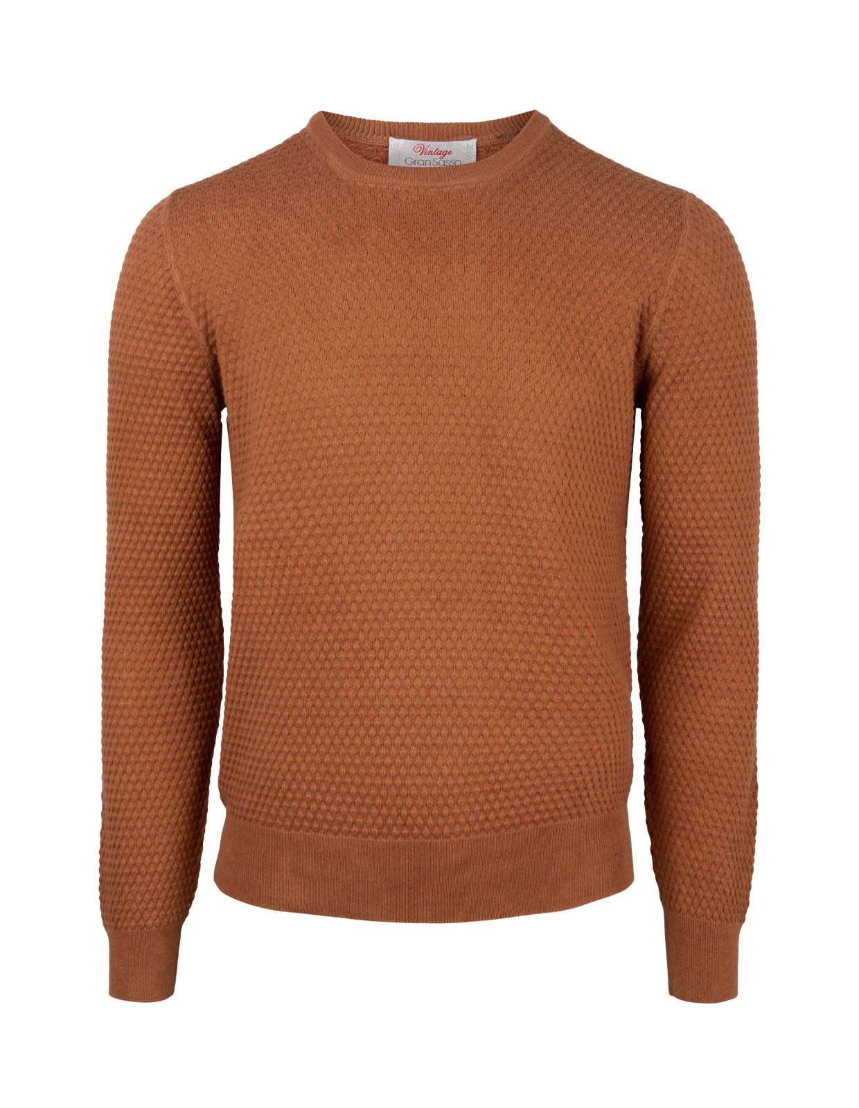 Crew Neck Knitted Texture Cotton Tobacco