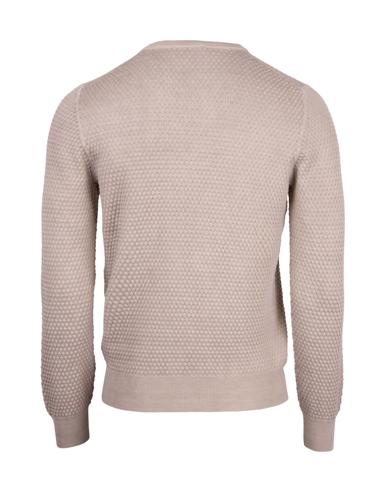 Crew Neck Tröja Knitted Texture Cotton Cream