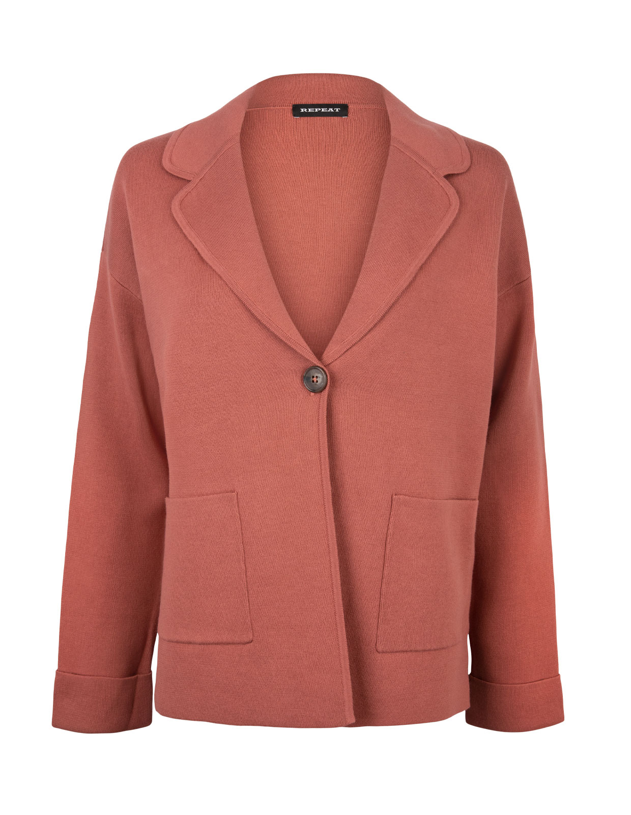 Cotton Knit Blazer Brick