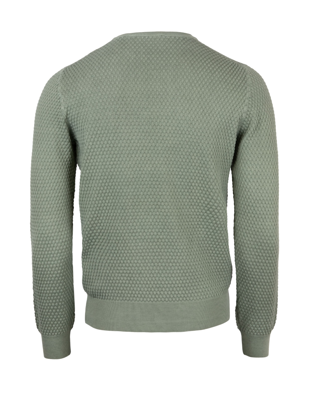 Crew Neck Knitted Texture Cotton Olive