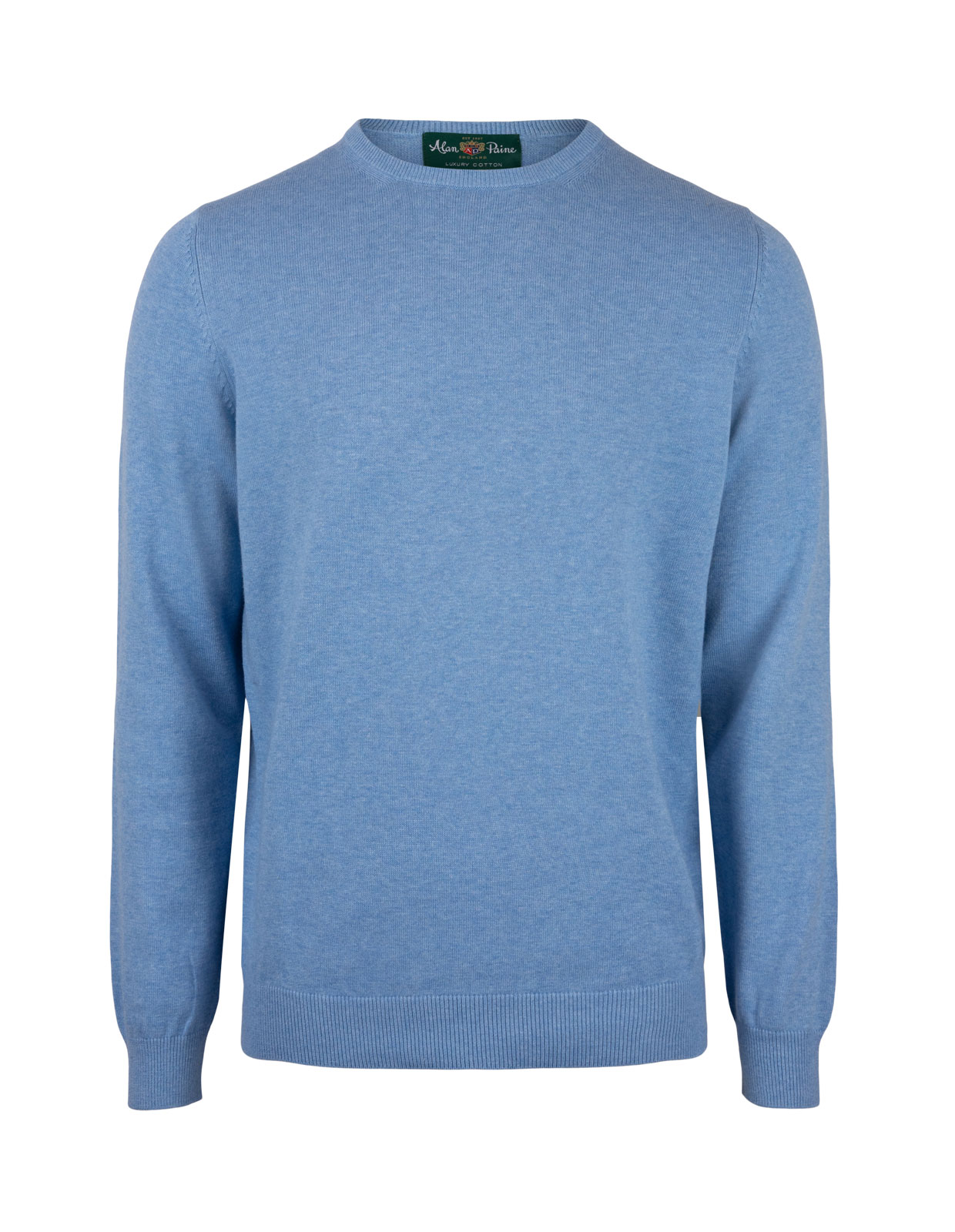 Leysmill Cotton Cashmere Crew Neck Jumper Carolina Blue