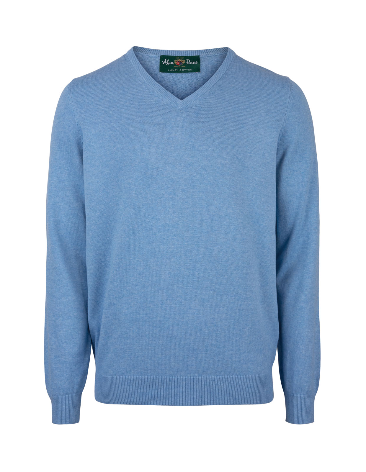 Rothwell Vee Neck Cotton Cashmere Carolina Blue