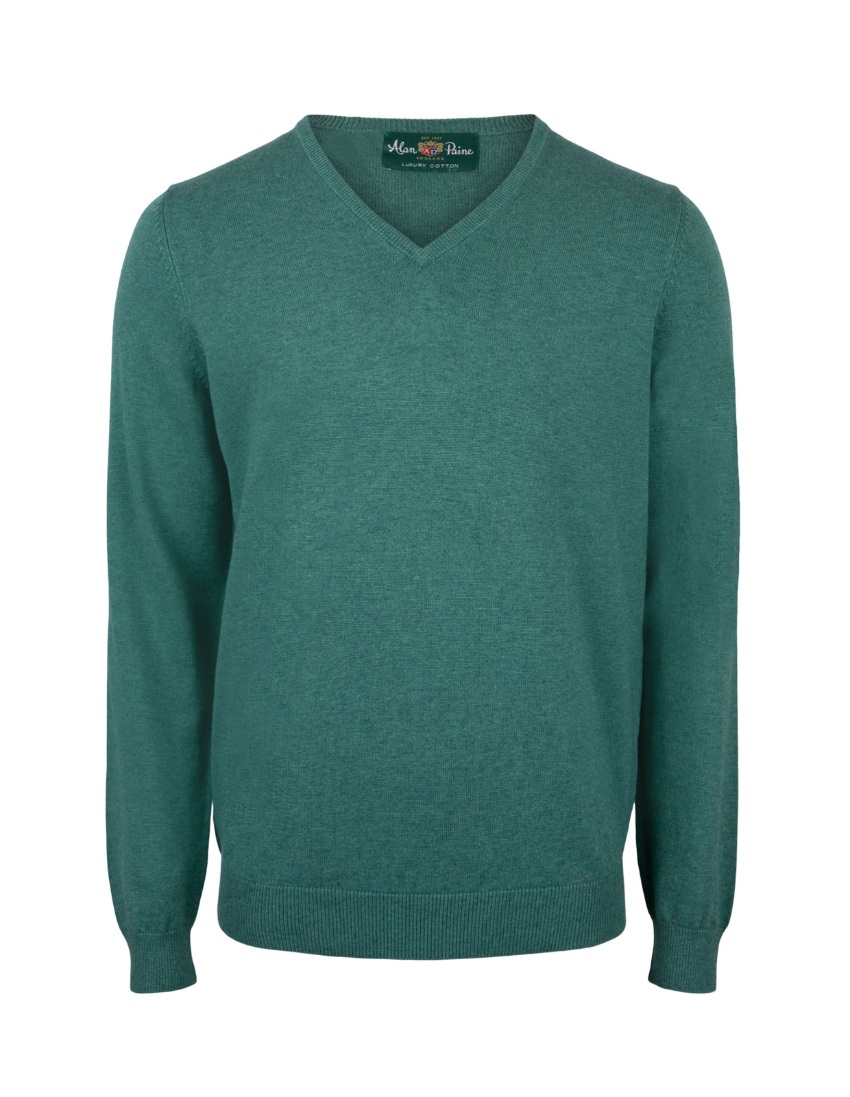 Rothwell Vee Neck Cotton Cashmere Moorland