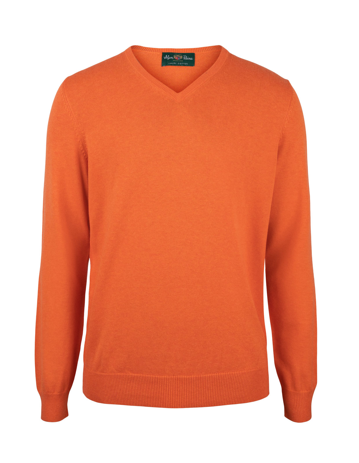 Rothwell Vee Neck Cotton Cashmere Blazing Orange