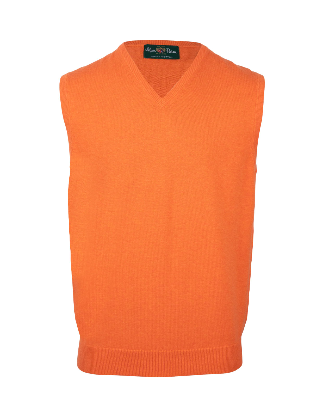 Ellerby Cotton Cashmere Vee Neck Slipover Blazing Orange