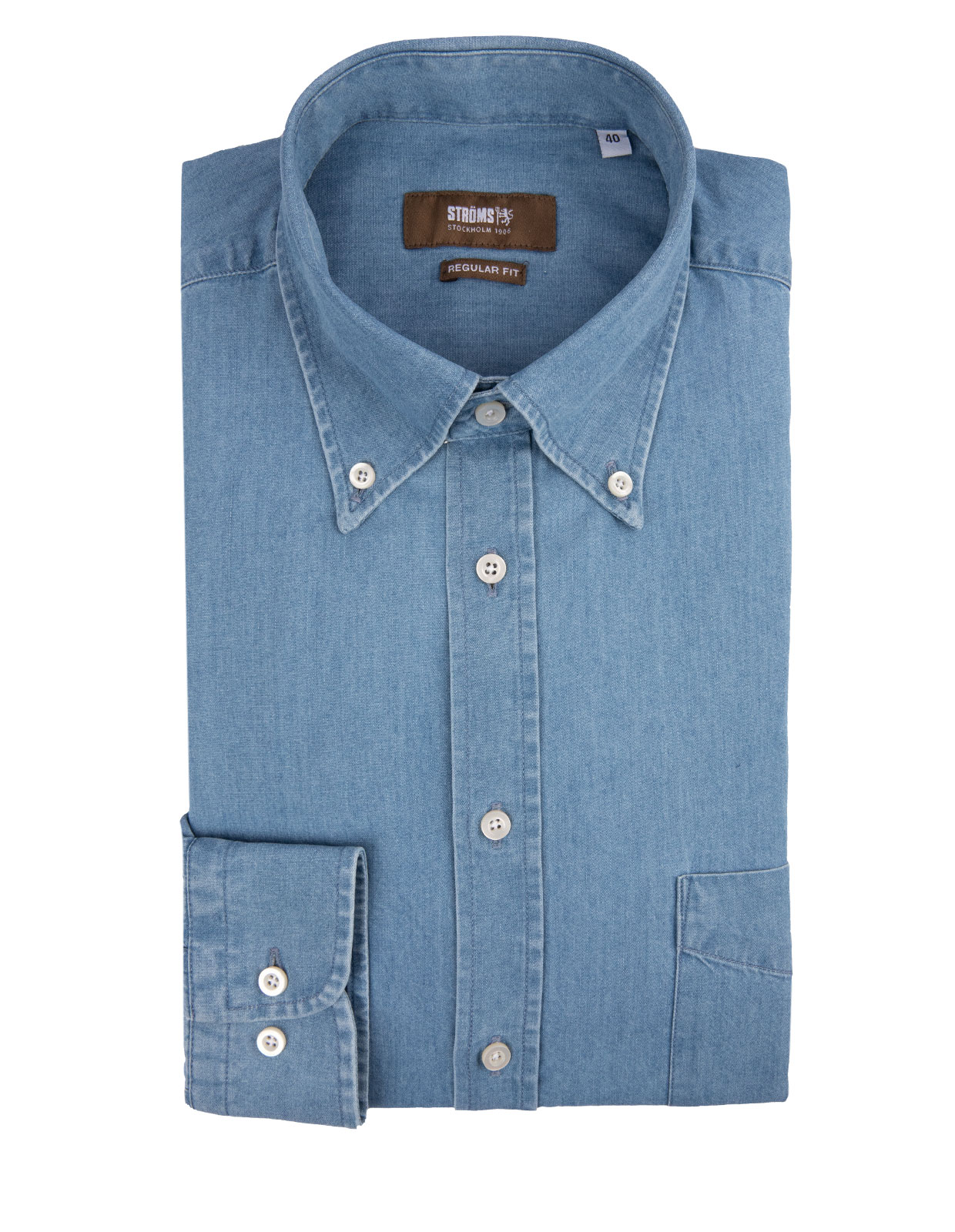 Regular Fit Button Down Denim Shirt Jeans Blue