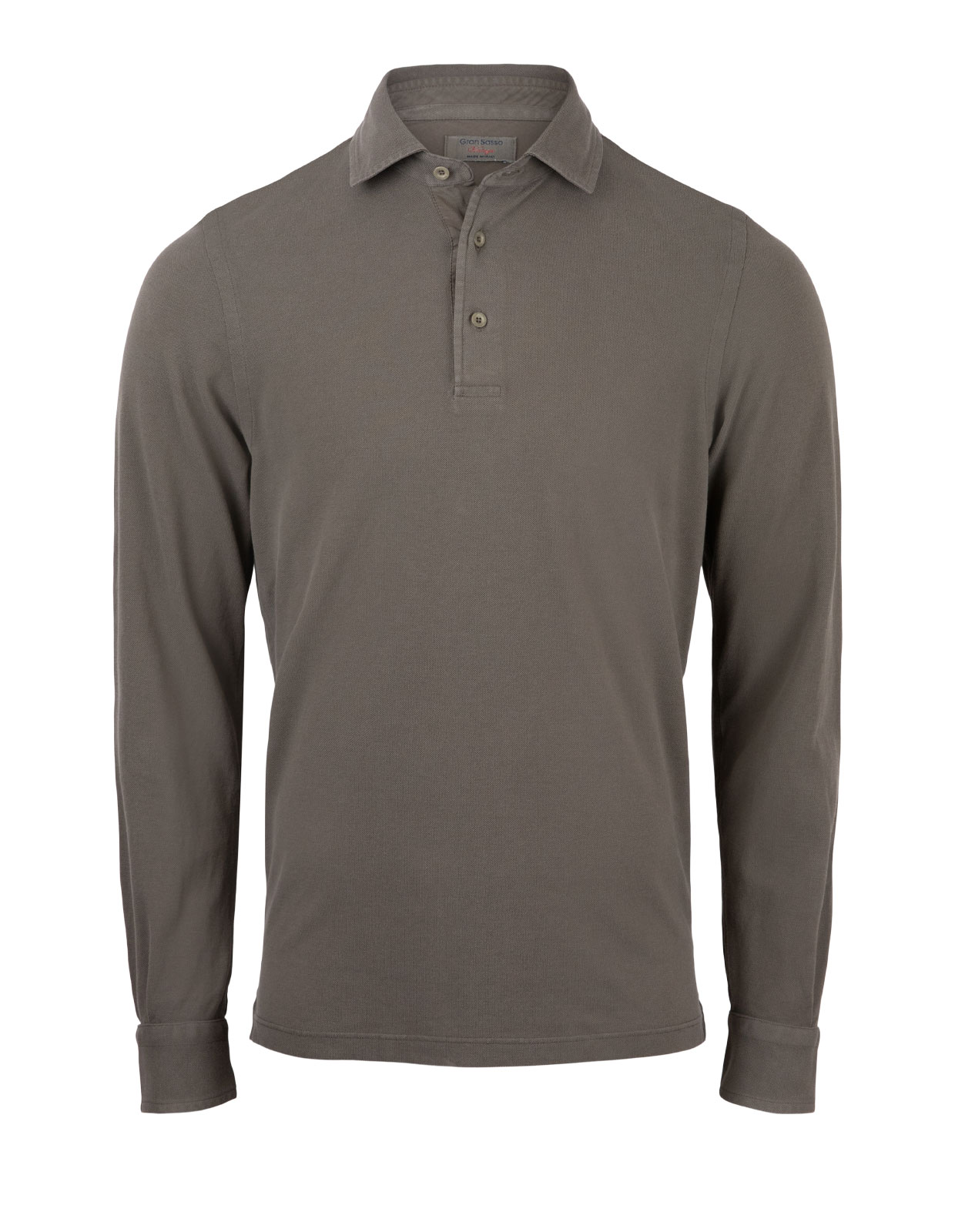 Polo Shirt Long Sleeve Vintage Cotton Olive