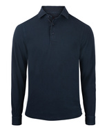 Polo Shirt Long Sleeve Vintage Cotton Navy