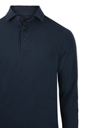 Polo Shirt Long Sleeve Vintage Cotton Navy Stl 50