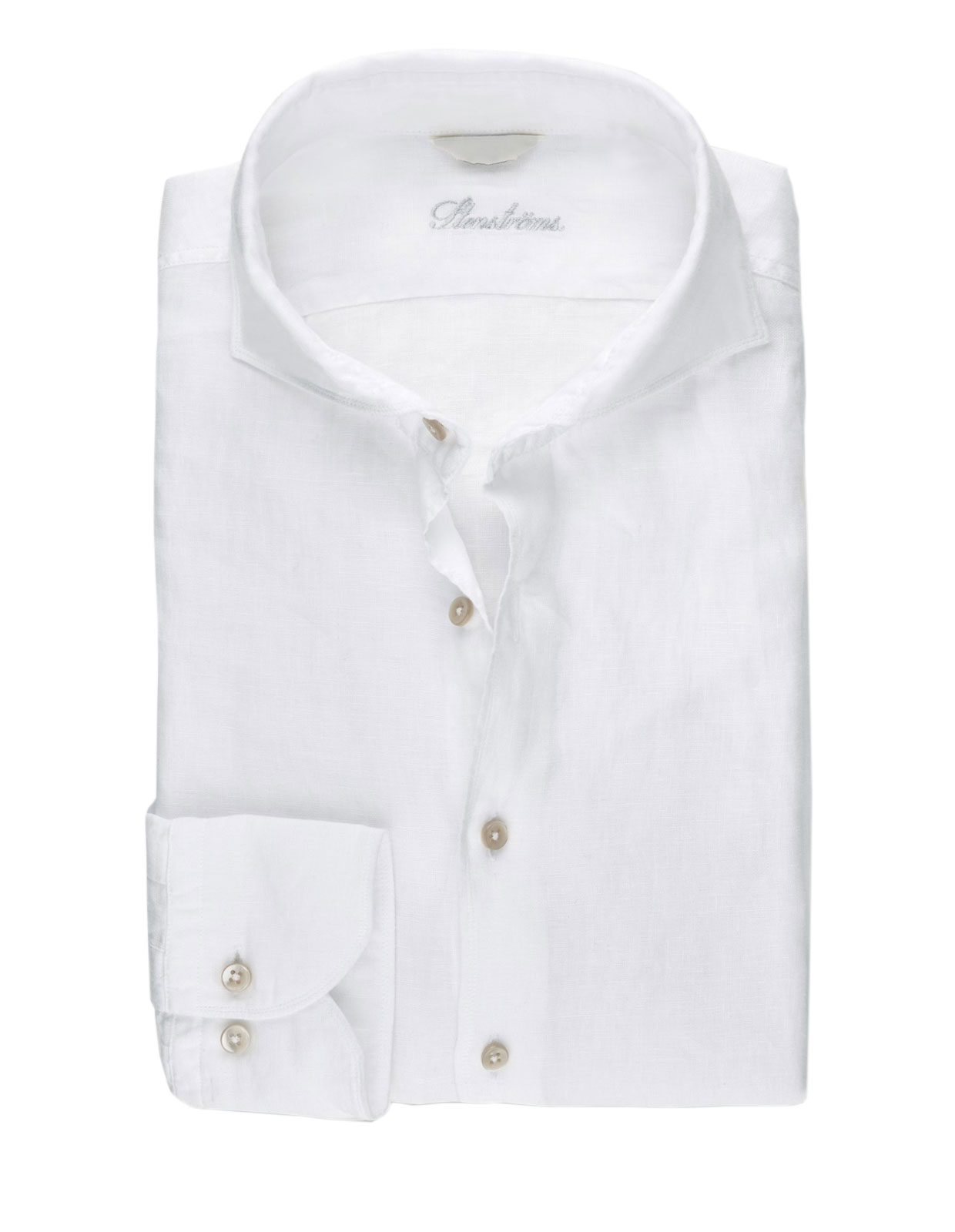 Fitted Body Linen Shirt White