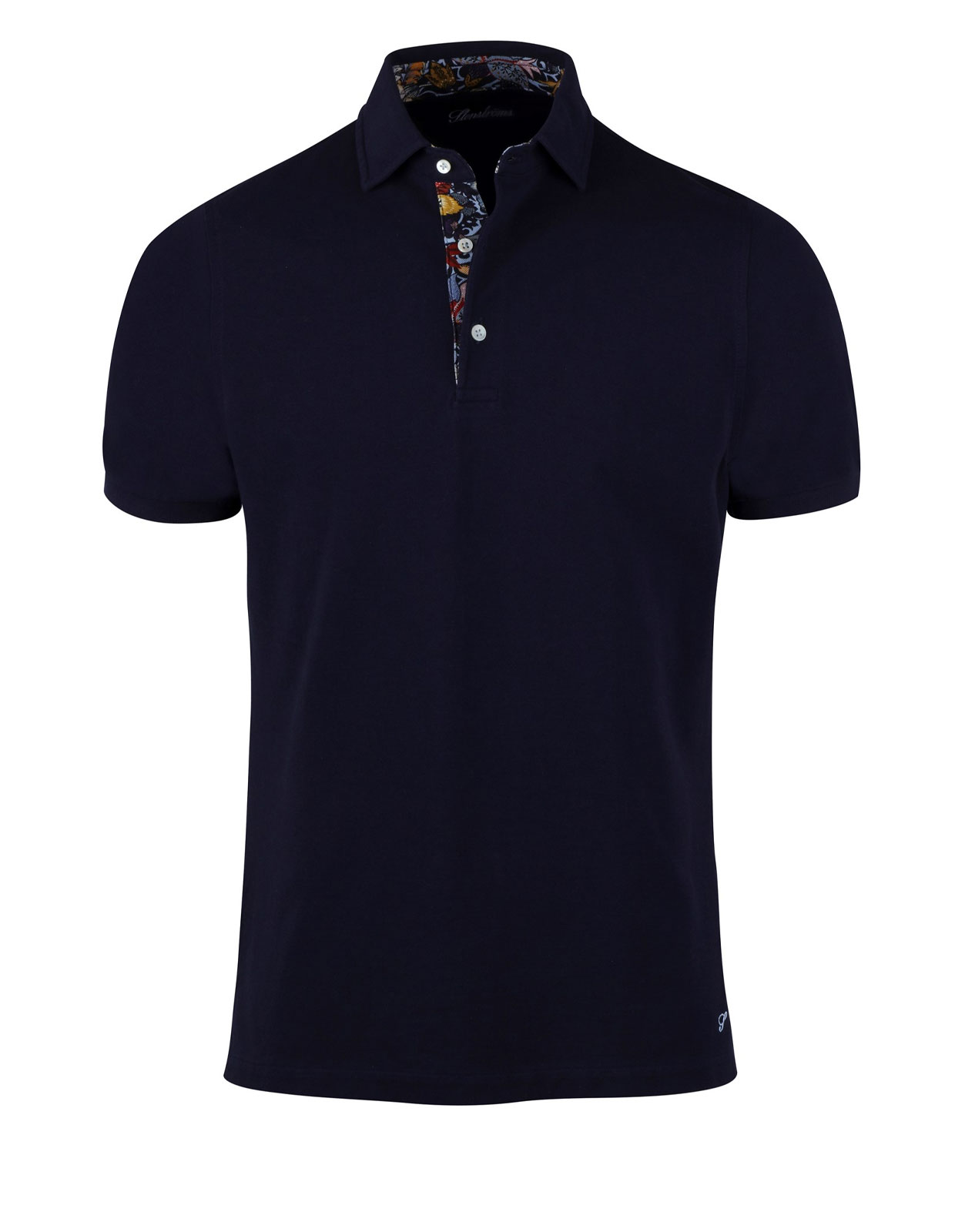 Polo Shirt Cotton Contrast Navy