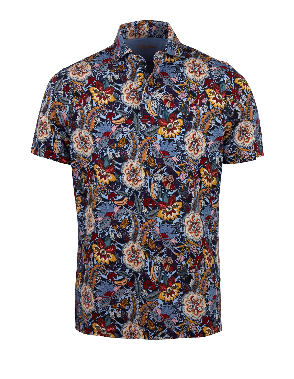 Polo Shirt Printed Flower Cotton Blue Floral