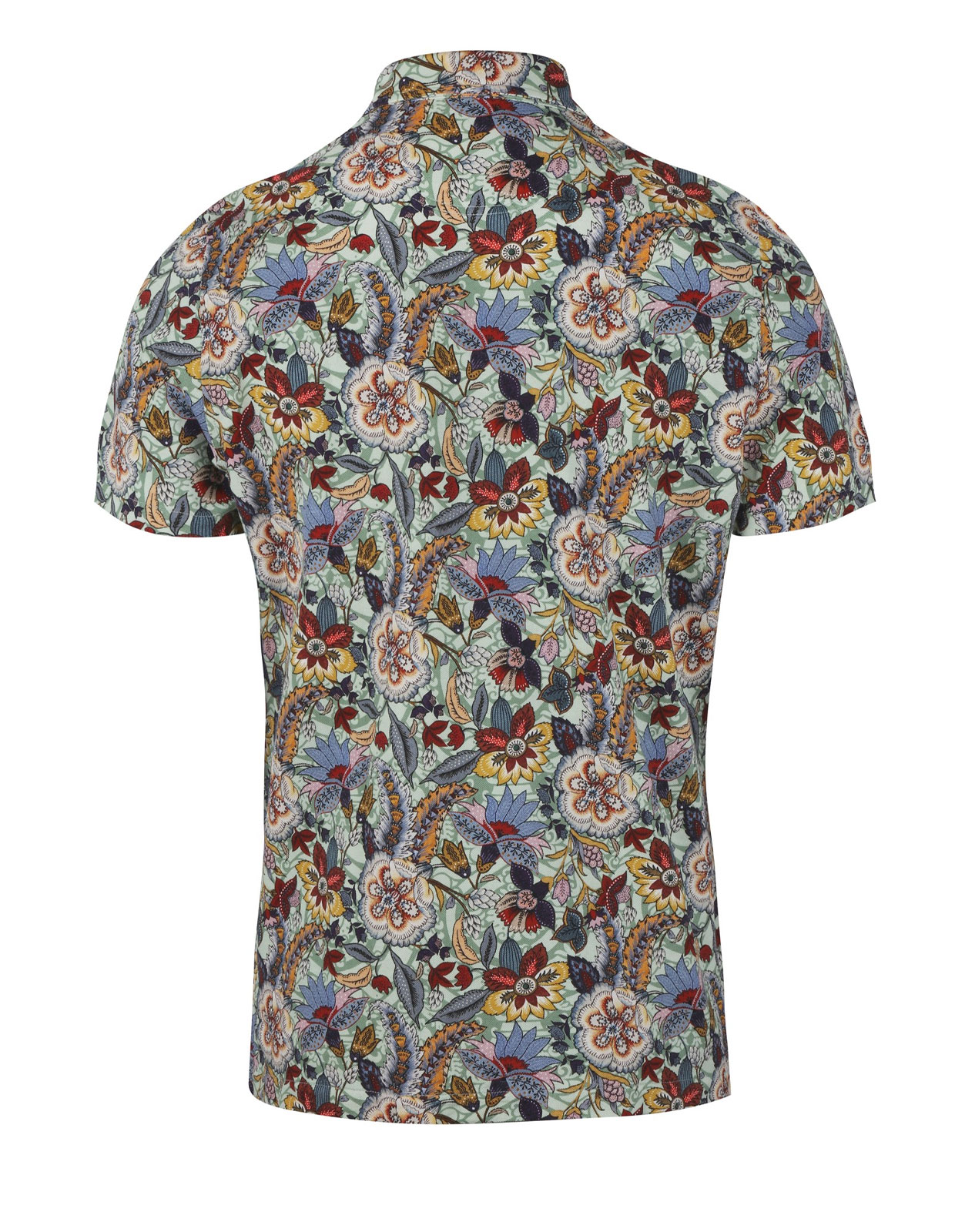 Polo Shirt Printed Flower Cotton Green Floral
