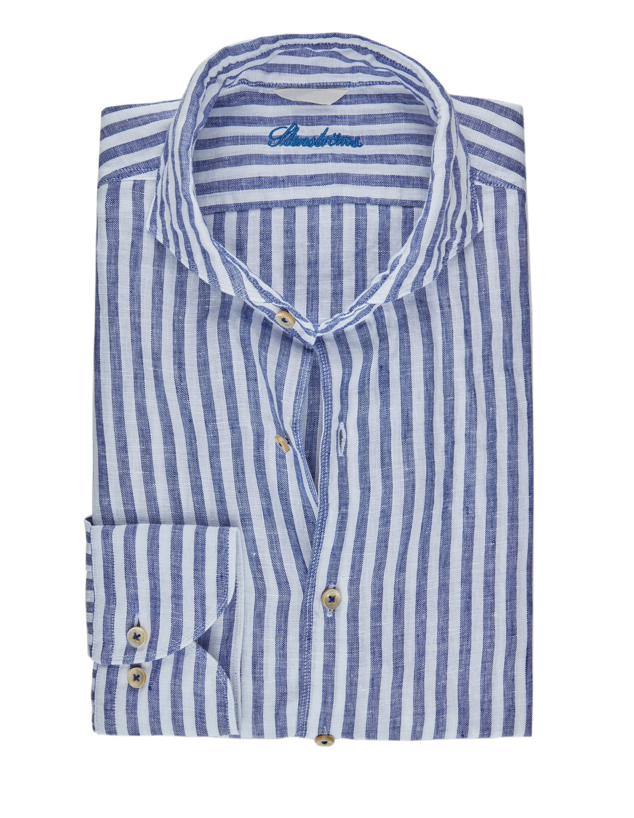Fitted Body Shirt Striped Linen Navy/White
