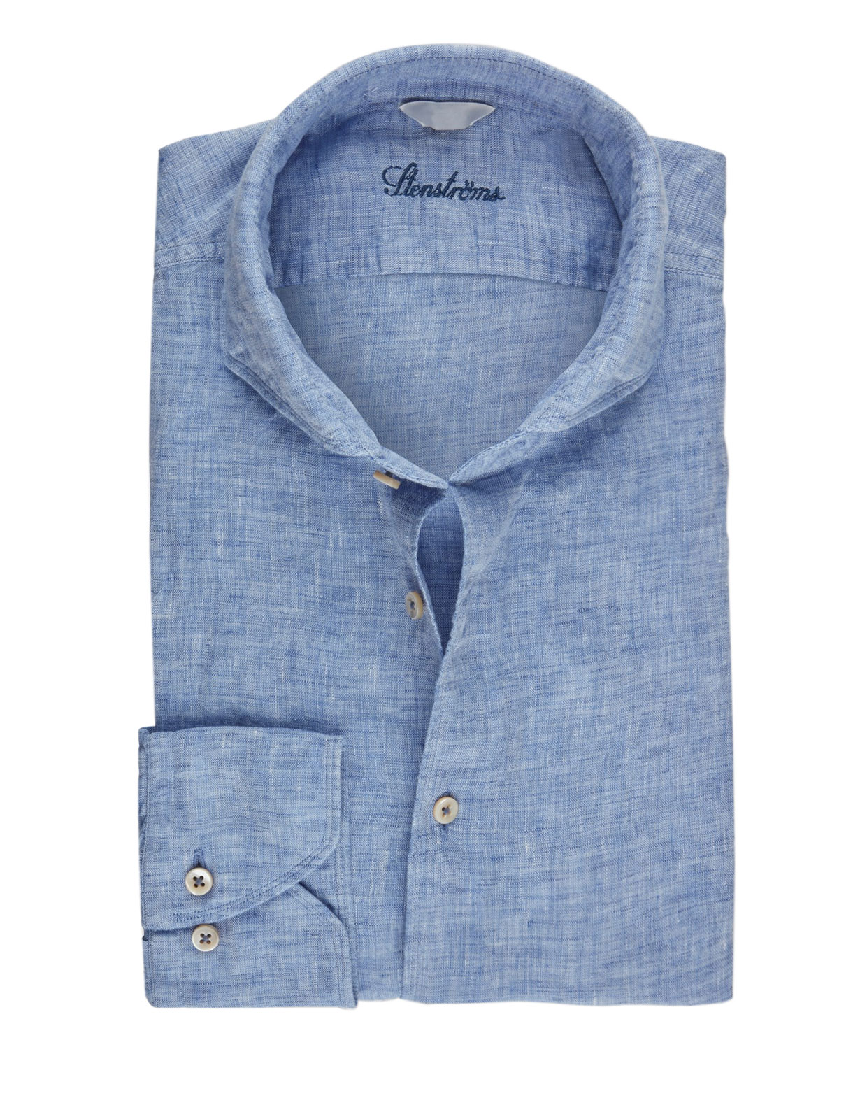 Fitted Body Linen Shirt Light Blue