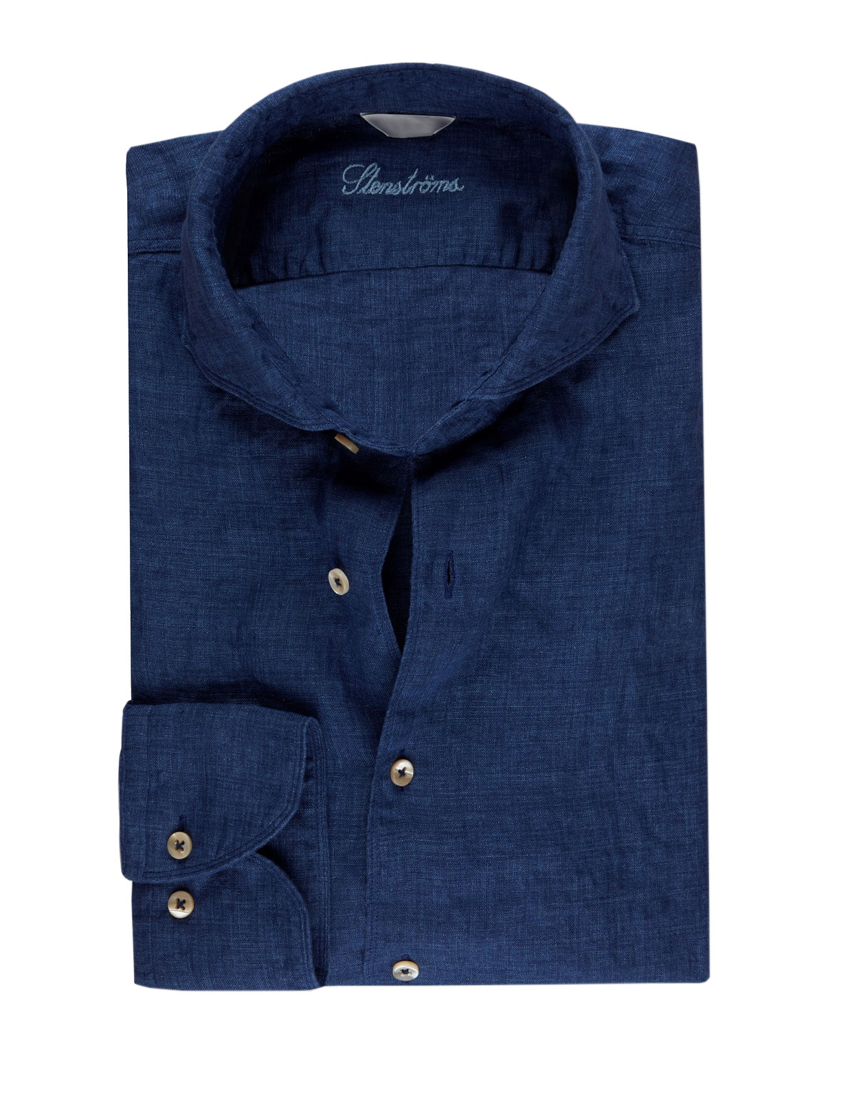 Fitted Body Linen Shirt Dark Blue