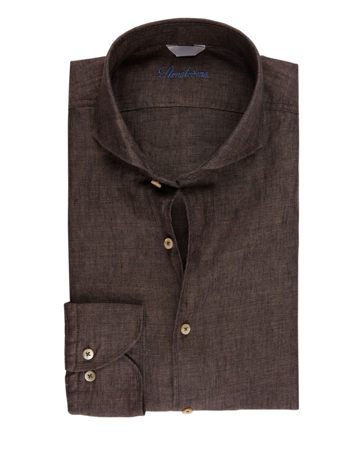 Fitted Body Linen Shirt Dark Brown