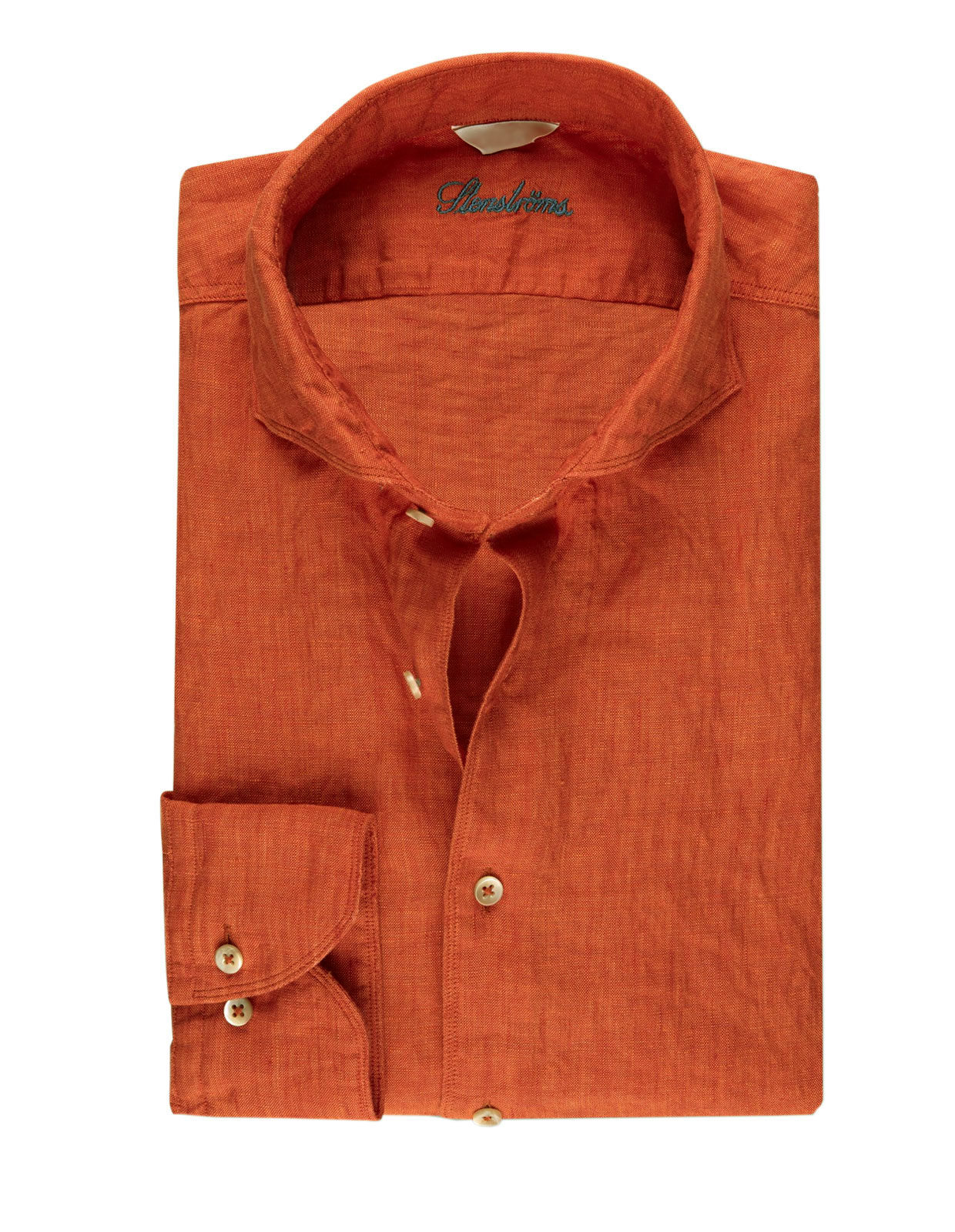 Fitted Body Linen Shirt Bright Orange