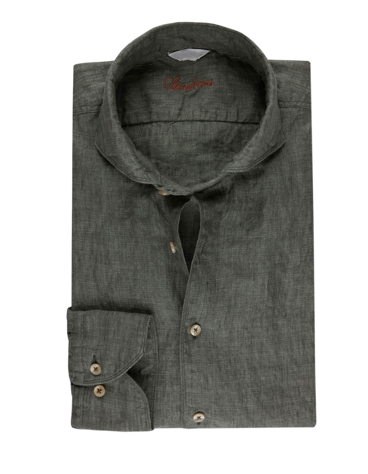 Fitted Body Linen Shirt Olive Green