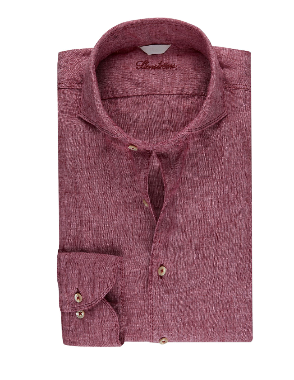 Fitted Body Linen Shirt Berry