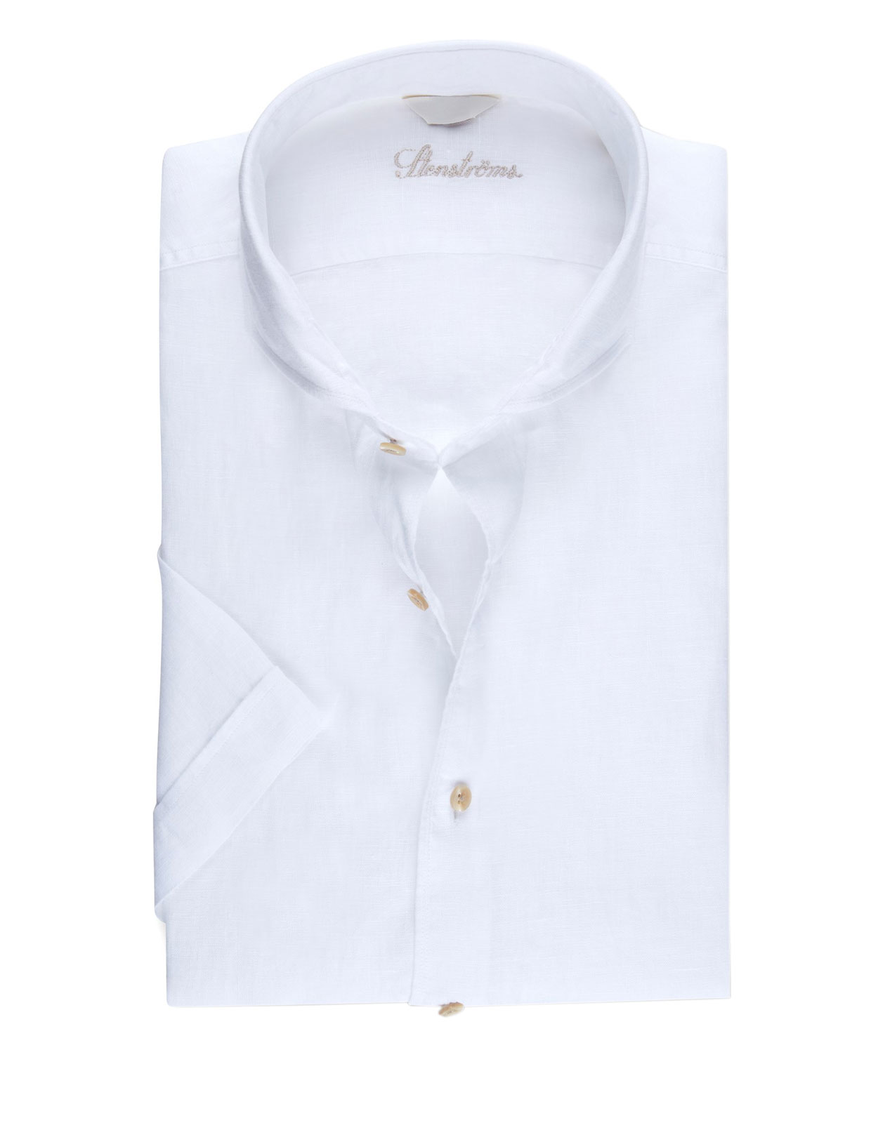 Fitted Body Short Sleeves Linen Shirt White