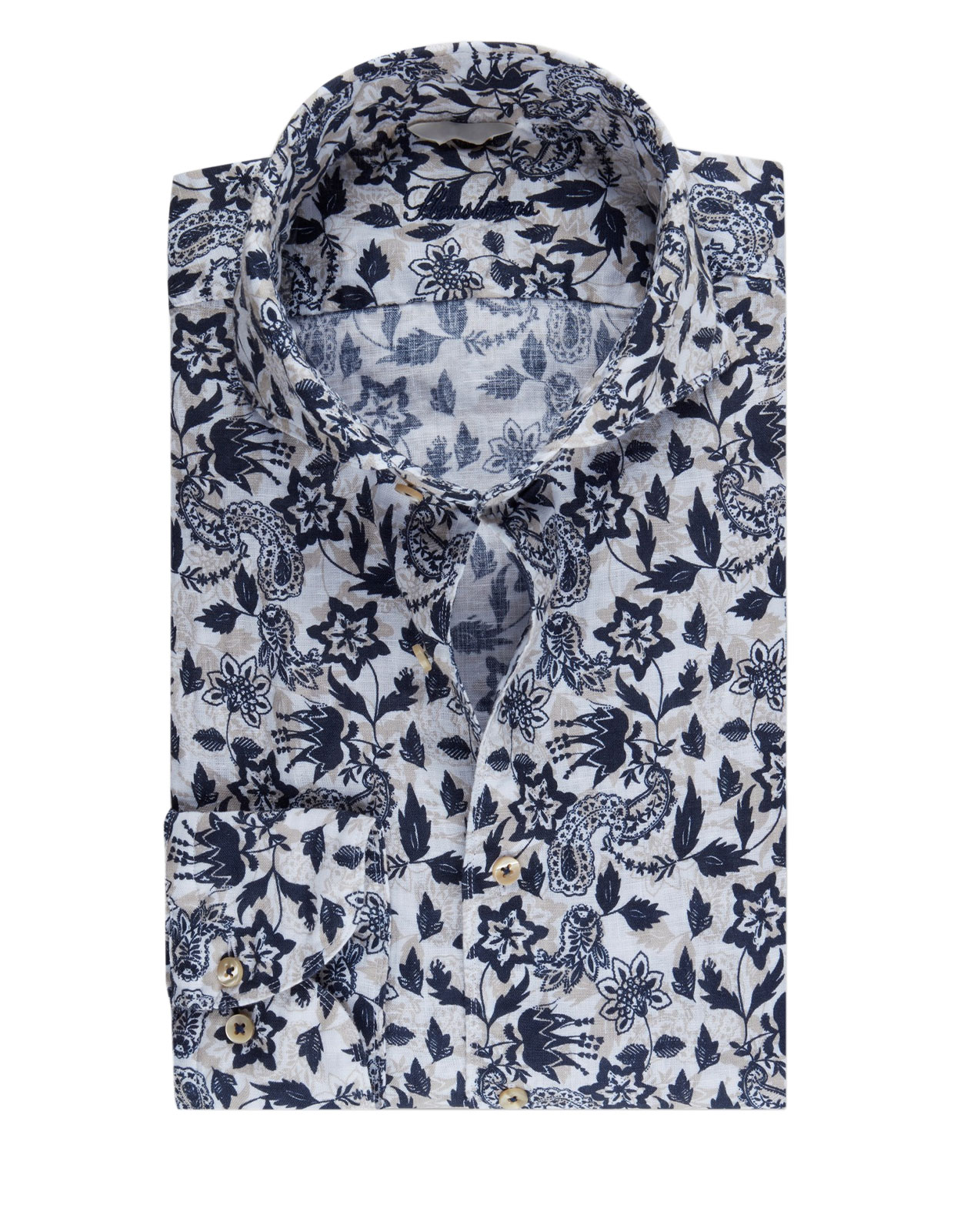 Fitted Body Shirt Flower Print Linen Blue/White