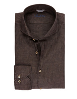 Slimline Linen Shirt Dark Brown