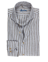 Slimline Shirt Striped Linen Olive/White