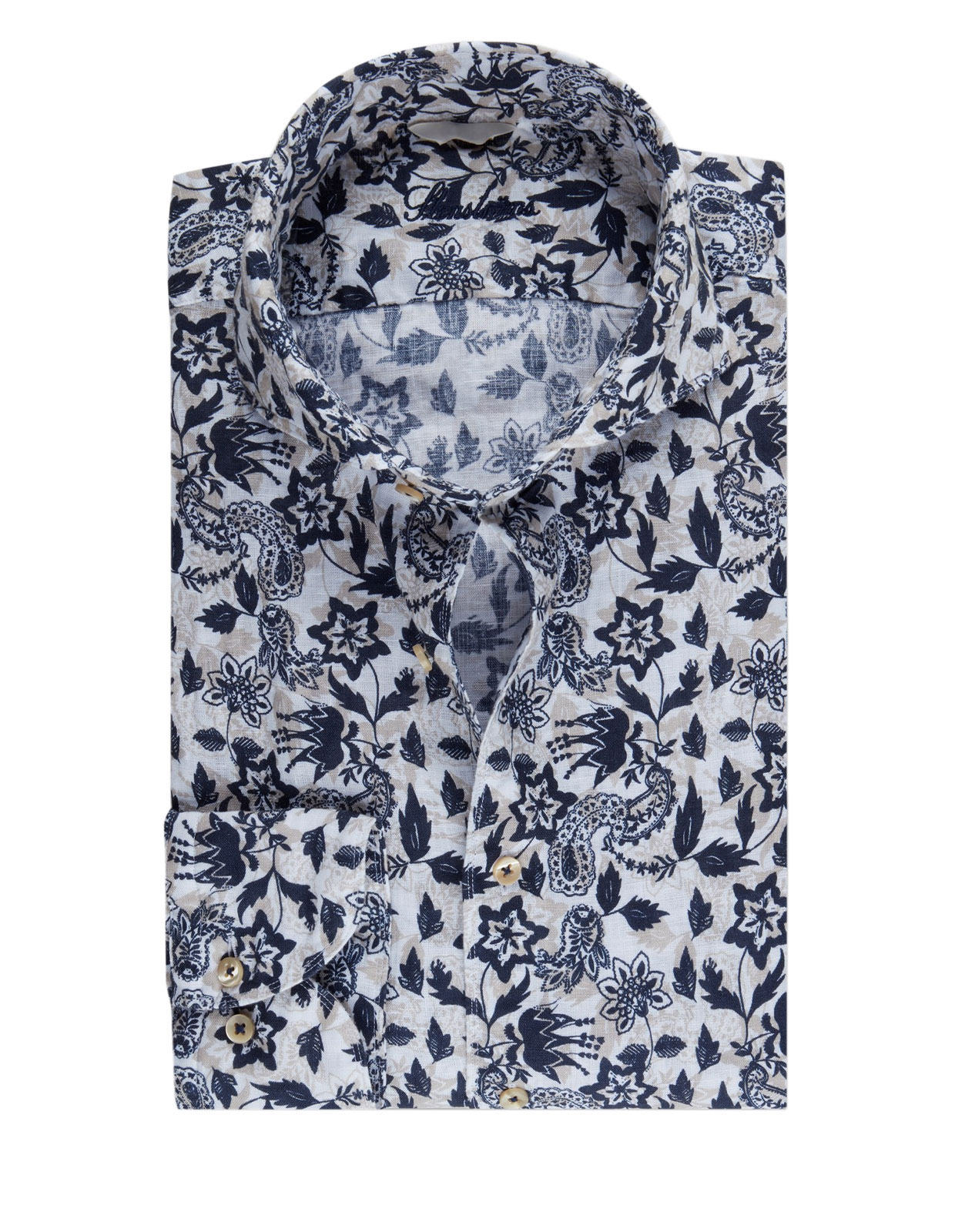 Slimline Shirt Flower Print Linen Blue/White