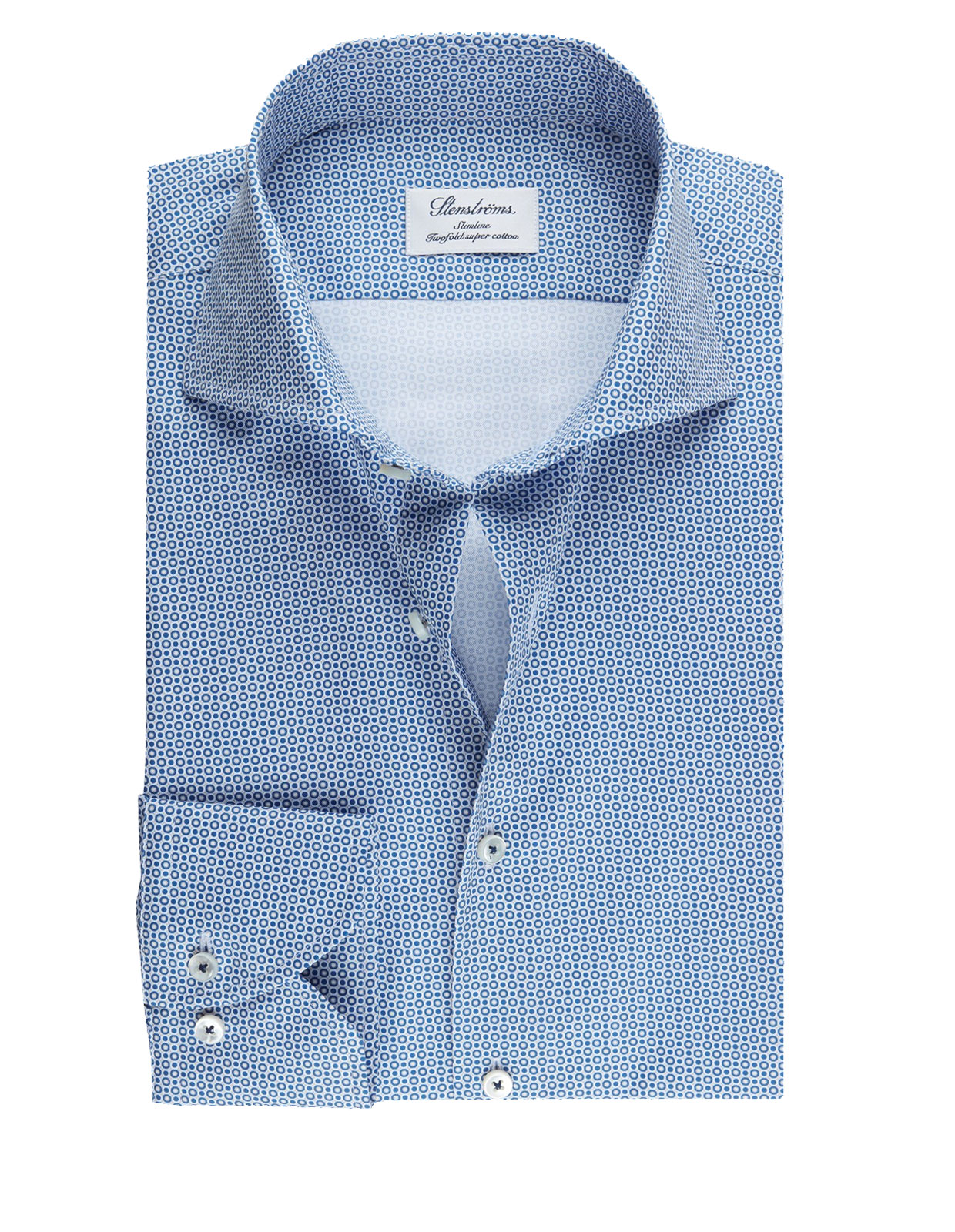 Slimline Shirt Geometric Patterned Blue