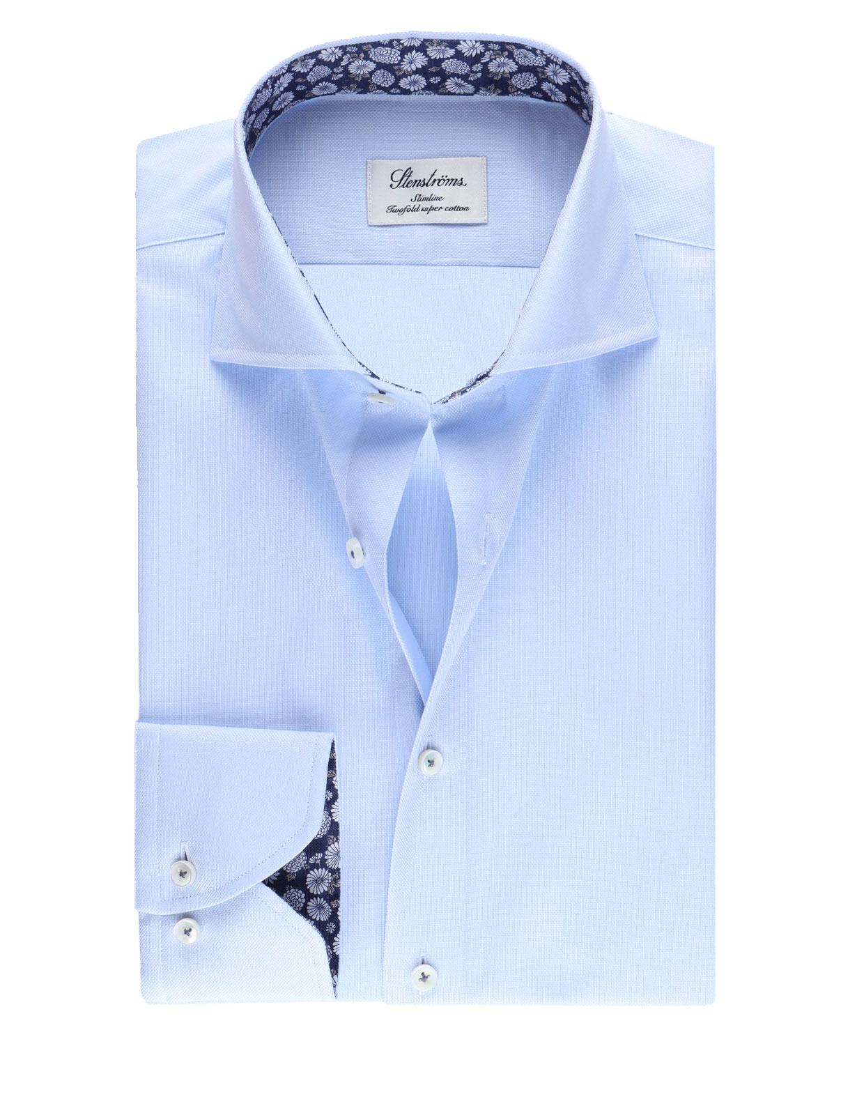 Slimline Shirt Floral Contrast Light Blue